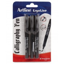Artline Ergoline Calligraphy Black Pen (1.0,2.0,3.0) Pack of 3