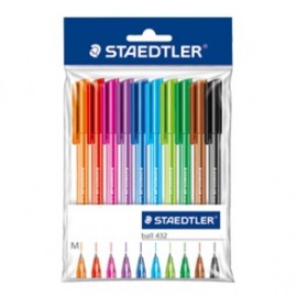 Staedtler Triangular Ballpoint Pen Pack of 10 Assorted Colours (432 35MPB10)