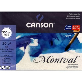 Canson Montval Glued Snowy Water Colour Papers A5 300gsm (14,8X21cm) Pack of 20 Fine Grain Sheets